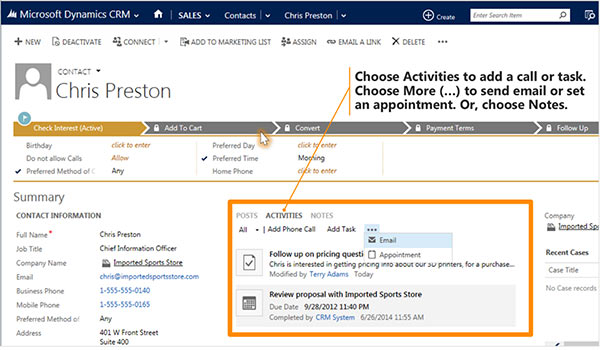 Microsoft CRM customer information